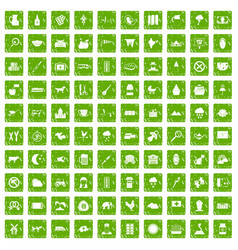 100 cow icons set grunge green vector
