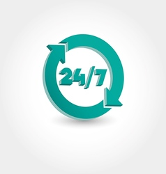 24 hours day and 7 days week icon vector