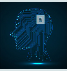 Abstract neon human head with cpu circuit board vector