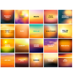 big set of 20 square blurred nature golden orange vector image