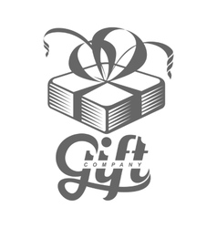 black and white graphic gift box logo templates vector image