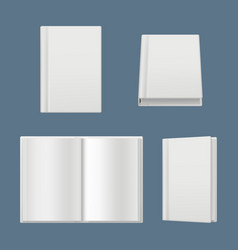 books mockup clean white pages of magazines vector image