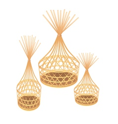 Brown Bamboo Wicker Baskets on White Background vector