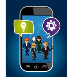 Business people mobile phone world map concept web vector image