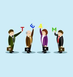 businessmen holding a letter teamwork vector image
