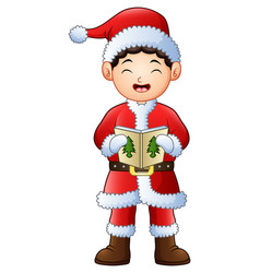 cartoon boy singing christmas carols isolated on w vector image