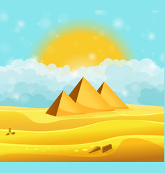 cartoon egyptian pyramids in the desert with vector image