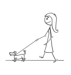 cartoon of woman walking with small dog vector image