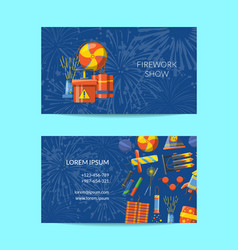 cartoon pyrotechnics business card template vector image