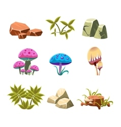 Cartoon Stones Mushrooms and Bushes Set vector image