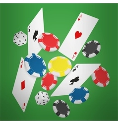 Casino concept floating cards and chips casino vector