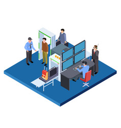 checking baggage and people security service vector image
