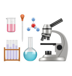 Chemical lab items science laboratory collection vector