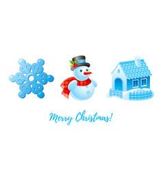 christmas icon set cartoon snowman snowflake vector image