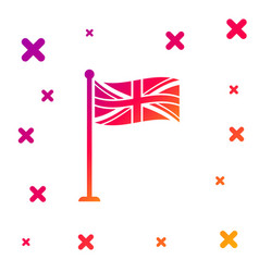 color flag great britain on flagpole icon vector image
