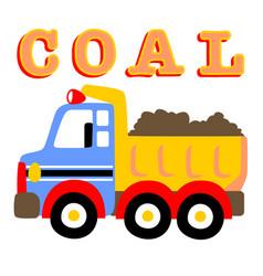 Colorful coal truck cartoon vector