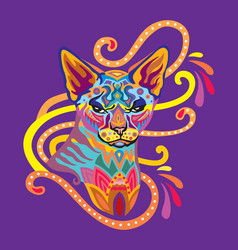 Colorful zentangle cat 8 vector