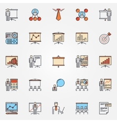 Conference and business presentation icons vector image