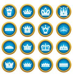 Crown icons blue circle set vector