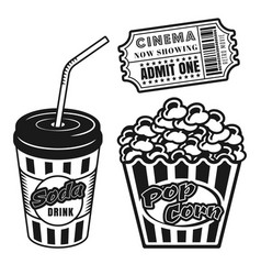 cup soda popcorn cinema ticket objects vector image