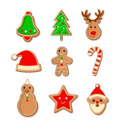 cute set gingerbread christmas cookies vector image