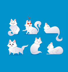 cute white cat - modern cartoon characters vector image