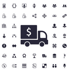 Delivery truck with sollar sign icon vector