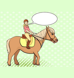 Equestrian sport for children isolated on pop art vector