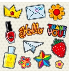 Fashion patches icons vector