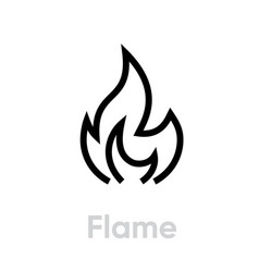 Flame and fire icon editable line vector