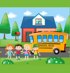 Four students going home by school bus vector
