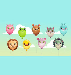 funny colorful flying balloons with cute animal vector image