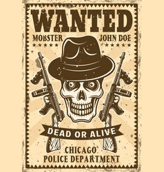 Gangster skull in hat wanted vintage poster vector