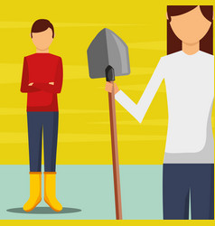 Gardeners man and woman with shovel image vector