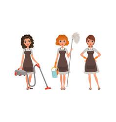 Girls in apron doing housework young women in vector