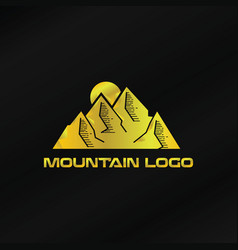 gold mountain logo template vector image