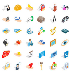 good work icons set isometric style vector image
