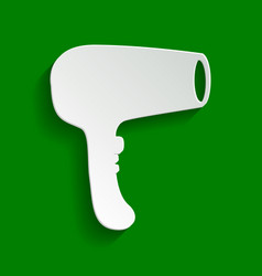 hair dryer sign paper whitish icon with vector image