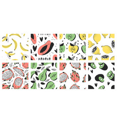 hand drawn big set seamless patterns with vector image