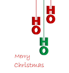 hohoho red and green text on white christmas vector image