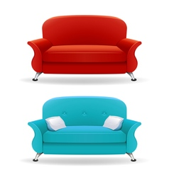 Interior design with realistic sofa vector