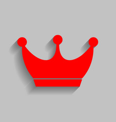 king crown sign red icon with soft shadow vector image