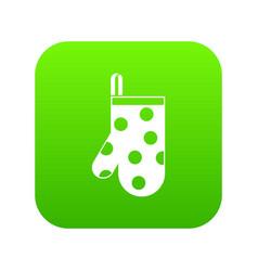 kitchen glove icon digital green vector image