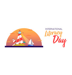 Literacy day banner concept for people education vector