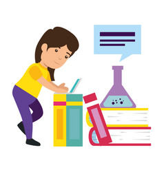 Little schoolgirl with books and tube test vector