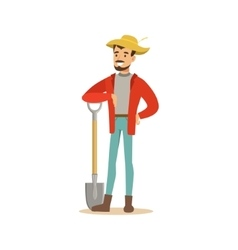 Man in straw hat standing with shovel farmer vector