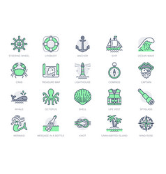 marine line icons included vector image