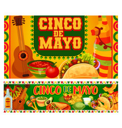 Mexican holiday guitar and cinco de mayo food vector