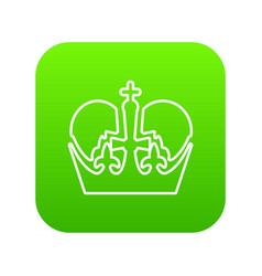 monarch crown icon green vector image