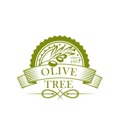 olive tree branch with fruit and leaf label design vector image